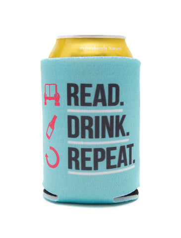 Read Drink Repeat koozie