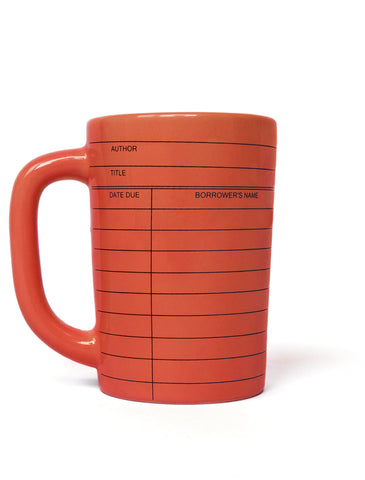 Library Card vintage red mug
