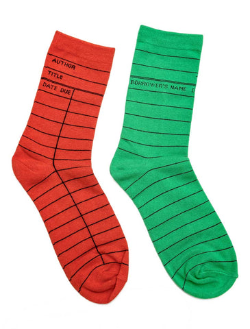 Library Card: Mismatched Holiday socks