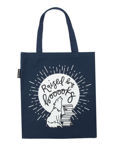 Raised by Books tote bag