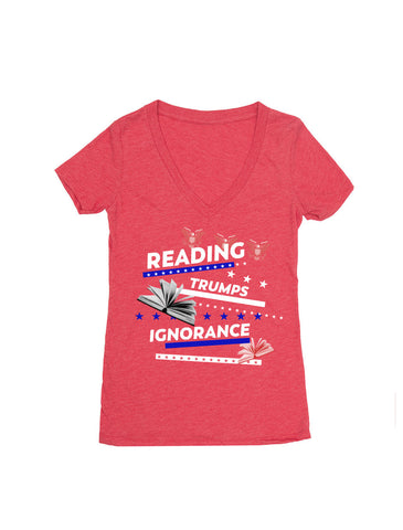 Reading Trumps Ignorance (Women's V-neck)