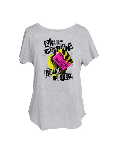 Card Carrying Book Lover T-Shirt (Women's Dolman)