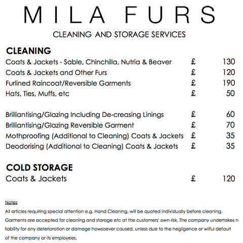 mila furs services cold storage cleaning and repairs prices