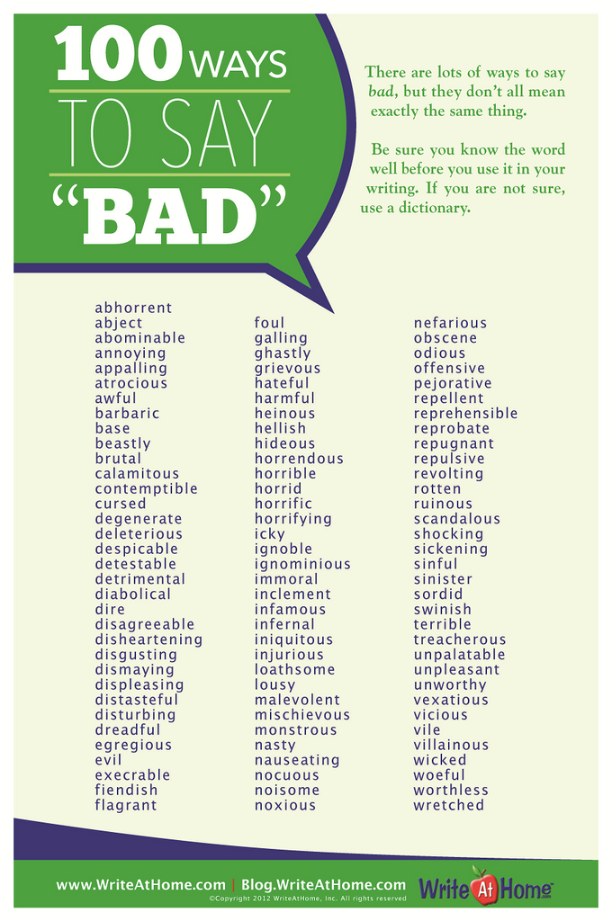 "100 Ways to Say ""Bad"" Poster"