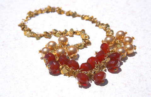 Carnelian and Brass Circle Choker