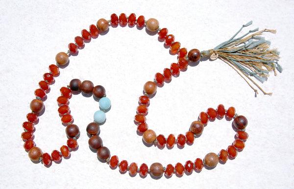 Knotted Carnelian & Wood Necklace