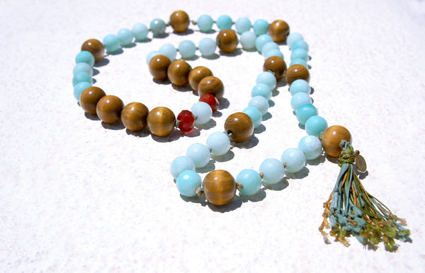 Amazonite & Wood Knotted Necklace