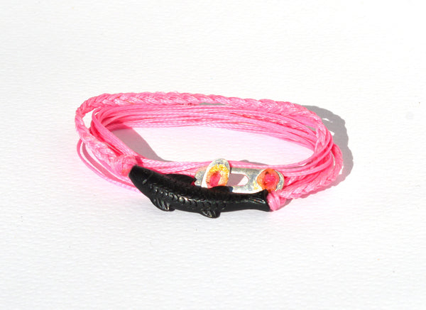 Pink Gone Fishing String Bracelet