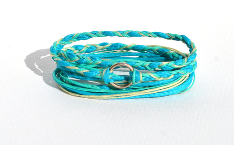 Silver Circle Teal Braided Bracelet
