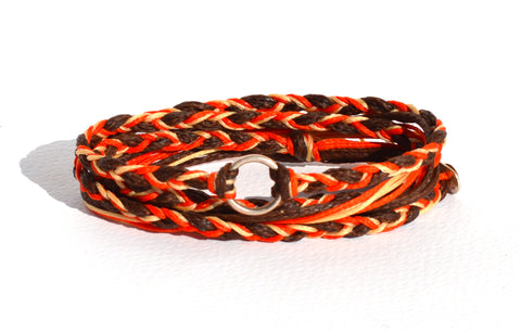 Silver Circle Red Braided Bracelet
