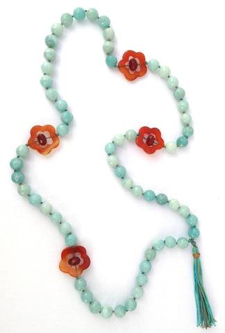 Knotted Amazonite with Carnelian Flowers