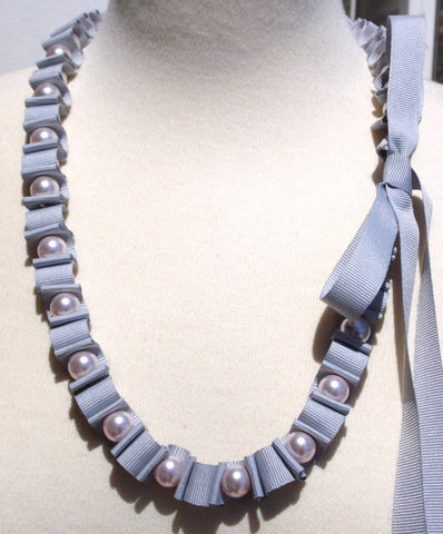 Light Grey Woven Ribbon Necklace