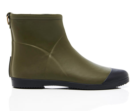 Minimalist Olive Ankle Rubber Boot