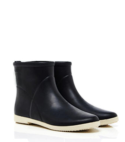 Minimalist Black + White Ankle Rain Boot