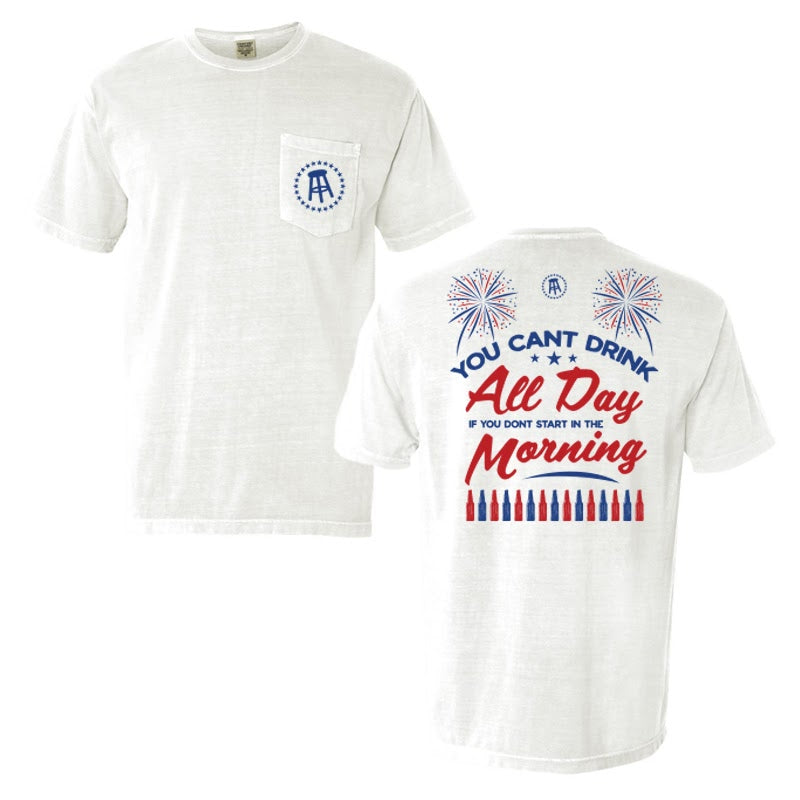 Can't Drink All Day USA Pocket Tee