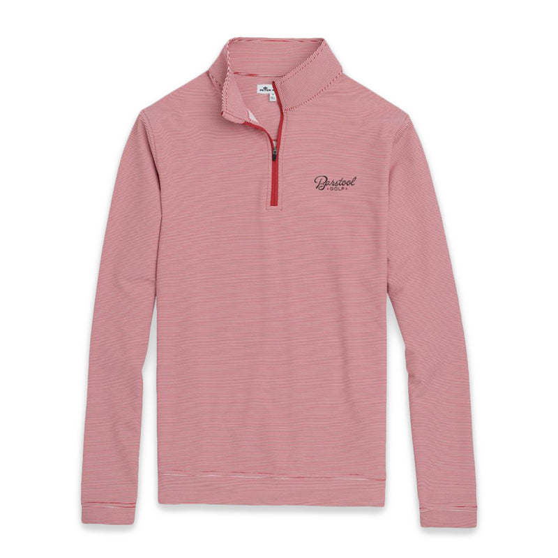 Peter Millar Barstool Golf Striped Quarter Zip (Red)