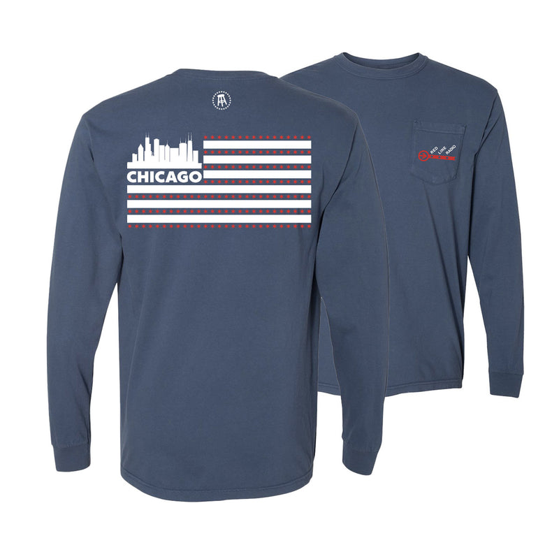 Red Line Radio Flag Long Sleeve Pocket Tee