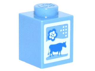 LegoBrick 1 x 1 with Cow and Flower Pattern (Milk Carton)