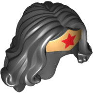 Minifigure Hair,  Female Long Wavy with Gold Tiara and Red Star Pattern (Wonder Woman)