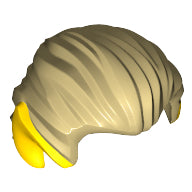 Minifigure Hair,  Swept Back with Pointy Yellow (Elf) Ears Pattern