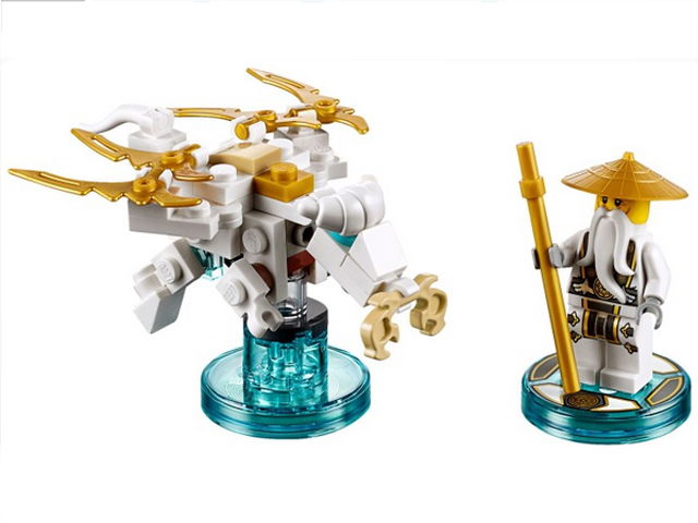 Ninjago Sensei Wu and Flying White Dragon