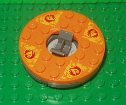 Turntable 6 x 6 Round Base with Orange Top and Red Phoenixes on Yellow Flames Pattern (Ninjago Spinner)