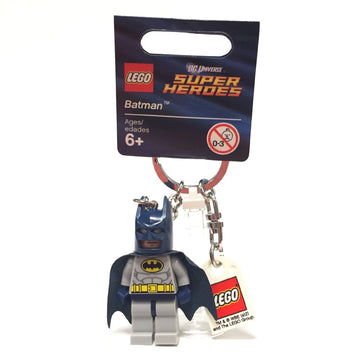 Batman, Light Bluish Gray Suit Key Chain with Lego Logo Tile, Modified 3 x 2 Curved with Hole (Dark Blue Hips)