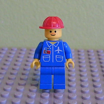 LEGO Minifigure-Airport - Blue 3 Button Jacket & Tie, Red Construction Helmet, Freckles-Town / City / Airport-AIR027-Creative Brick Builders