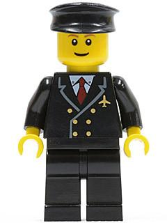 LEGO Minifigure-Airport - Pilot with Red Tie and 6 Buttons, Black Legs, Black Hat, Brown Eyebrows, Thin Grin-Town / City / Airport-AIR022-Creative Brick Builders