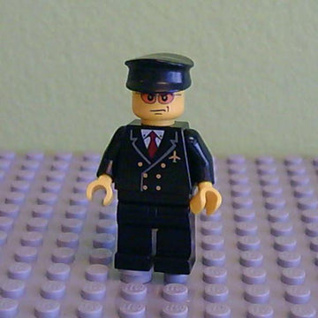 LEGO Minifigure-Airport - Pilot with Red Tie and 6 Buttons, Black Legs, Black Hat, Orange Sunglasses-Town / City / Airport-AIR042-Creative Brick Builders