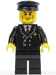 LEGO Minifigure-Airport - Pilot with Red Tie and 6 Buttons, Black Legs, Black Hat, Vertical Cheek Lines (3181)-Town / City / Airport-AIR043-Creative Brick Builders