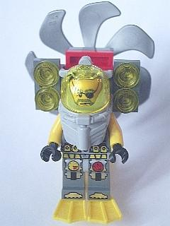 LEGO Minifigure-Atlantis Diver 3 - Ace Speedman - With Lights, Propeller, Yellow Flippers and Trans-Yellow Visor-Atlantis-ATL024-Creative Brick Builders