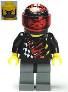 LEGO Minifigure-Backyard Blaster 1 (Bart Blaster) - Standard Helmet, Trans-Red Visor-World Racers-WR023-Creative Brick Builders