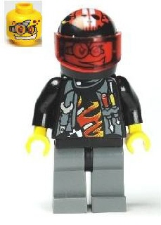 LEGO Minifigure-Backyard Blaster 3 (Billy Bob Blaster) - Standard Helmet-World Racers-WR024-Creative Brick Builders