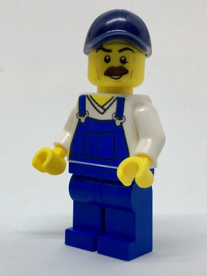 LEGO Minifigure-Beach Janitor - Blue Overalls and Dark Blue Cap-Town / City-cty765-Creative Brick Builders