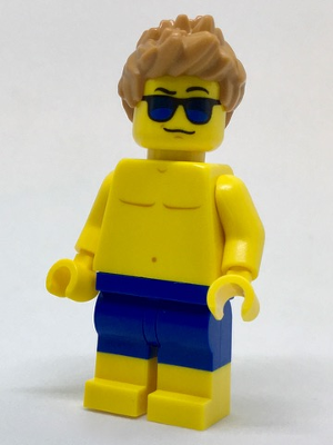 LEGO Minifigure-Beachgoer - Blue Male Swim Trunks and Sunglasses-Town / City-cty760-Creative Brick Builders