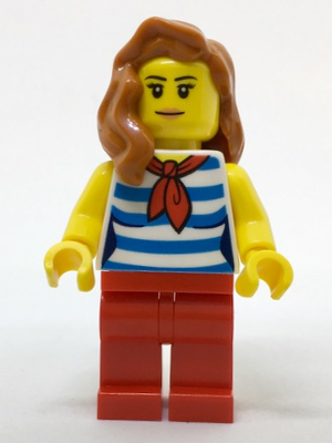 LEGO Minifigure-Beachgoer - White and Dark Azure Striped Female Top with Red Scarf and Legs-Town / City-cty768-Creative Brick Builders