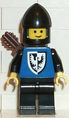LEGO Minifigure-Black Falcon - Black Legs, Black Chin-Guard, Quiver (old style torso with rounder bottomed shield)-Castle / Black Falcons-CAS301-Creative Brick Builders