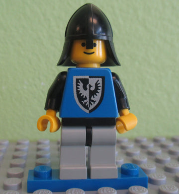 LEGO Minifigure-Black Falcon - Light Gray Legs with Black Hips, Black Neck-Protector-Castle / Black Falcons-CAS103-Creative Brick Builders