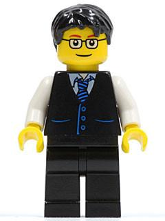 LEGO Minifigure-Black Vest with Blue Striped Tie, Black Legs, White Arms, Black Short Tousled Hair, Glasses-Town / City / Airport-TWN052-Creative Brick Builders