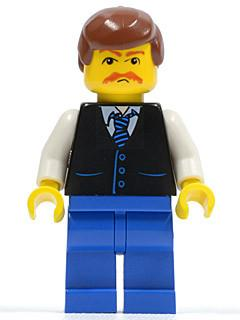 LEGO Minifigure-Black Vest with Blue Striped Tie, Blue Legs, White Arms, Reddish Brown Male Hair, Moustache-Town / City-TWN033-Creative Brick Builders