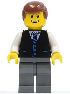 LEGO Minifigure-Black Vest with Blue Striped Tie, Dark Bluish Gray Legs, White Arms, Reddish Brown Male Hair-Town / City-TWN108-Creative Brick Builders
