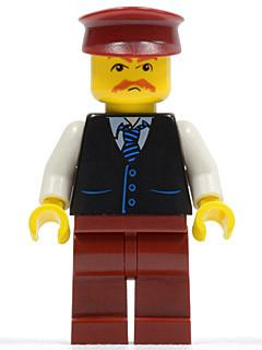 LEGO Minifigure-Black Vest with Blue Striped Tie, Dark Red Legs, White Arms, Dark Red Hat, Moustache-Town / City-TWN068-Creative Brick Builders