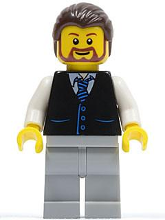 LEGO Minifigure-Black Vest with Blue Striped Tie, Light Bluish Gray Legs, White Arms, Dark Brown Hair, Brown Beard Rounded-Town / City / Space Port-TWN135-Creative Brick Builders