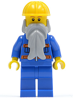 LEGO Minifigure-Blue Jacket with Pockets and Orange Stripes, Blue Legs, Beard, Yellow Construction Helmet-Town / City-CTY123-Creative Brick Builders