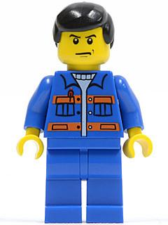 LEGO Minifigure-Blue Jacket with Pockets and Orange Stripes, Blue Legs, Black Male Hair-Town / City-CTY139-Creative Brick Builders