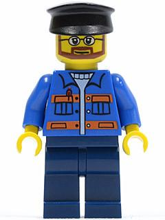 LEGO Minifigure-Blue Jacket with Pockets and Orange Stripes, Dark Blue Legs, Black Hat-Town-TWN124-Creative Brick Builders