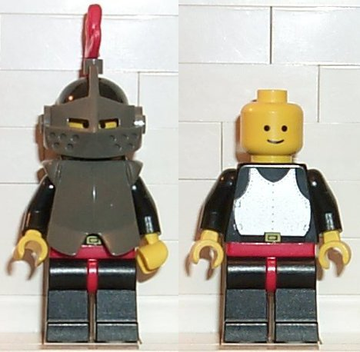 LEGO Minifigure-Breastplate - Armor over Black, Black Helmet, Dark Gray Visor, Red 3-Feather Plume-Castle-CAS172-Creative Brick Builders