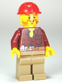 Flannel Shirt with Pocket and Belt, Dark Tan Legs, Red Construction Helmet, Beard