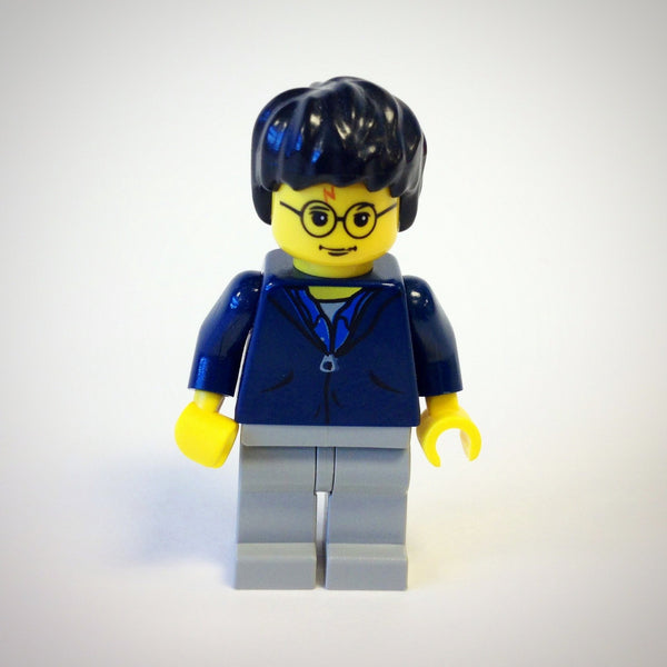 LEGO Minifigure-Harry Potter, Dark Blue Jacket Torso, Light Gray Legs-Harry Potter / Chamber of Secrets-HP033-Creative Brick Builders